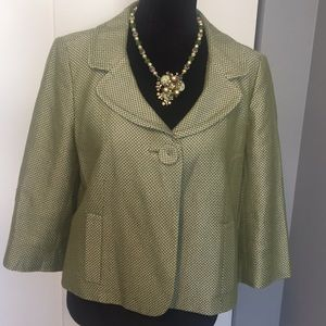 Ann Taylor light green and white tweed coat.